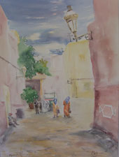 Aquarellbild Marrakech