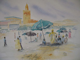Aquarellbild Marrakesch