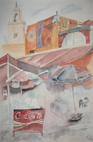 Aquarellbild Cafe in Marrakesch