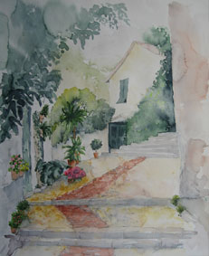 Aquarellbild Gasse in Levanto